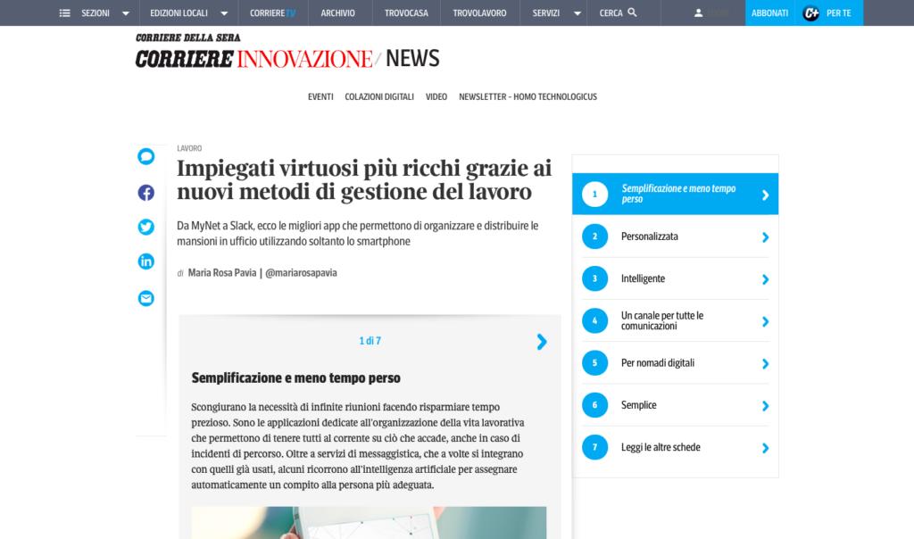 Corriere Innovazione su MyNet