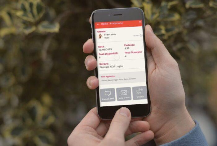 schermata Modulo Car sharing con prenotazione viaggio
